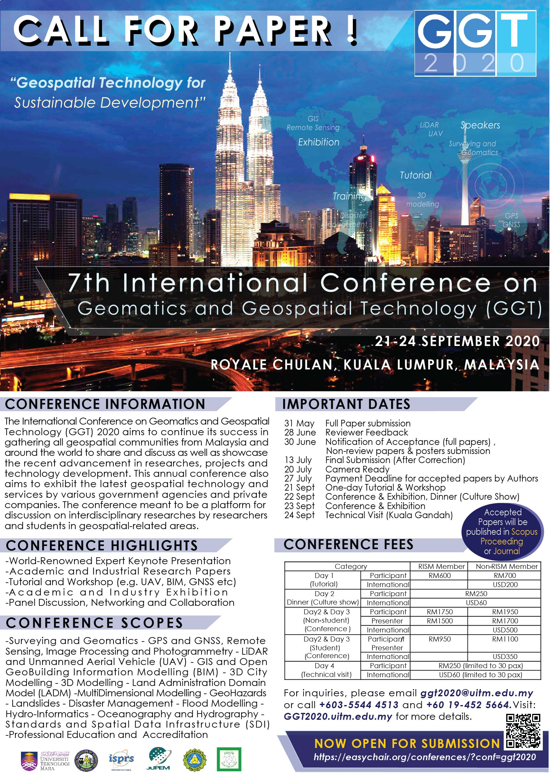 Call for Papers: 7th International Conferences on Geomatics and Geospatial Technology 2020 (Scopus Indexed Publication), 21-24 Sept 2020, KL