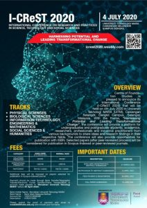 Call for Papers: International Conference on Research and Practices in Science, Technology and Social Sciences(I-CReST 2020)