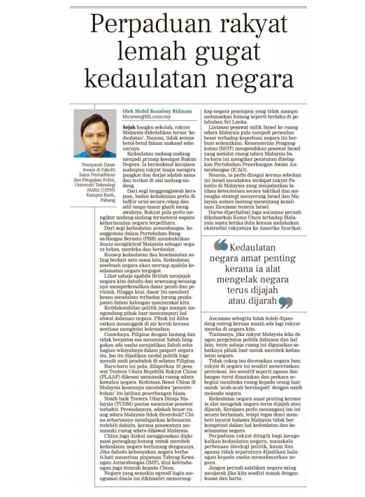 (Isentia) Perpaduan Rakyat Lemah Gugat Kedaulatan Negara